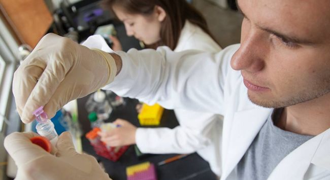 Students working in a Biology Lab